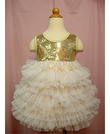 Teddy Guppies Party Wear Sequin Sparkle Dress - Golden And Cream