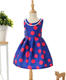 Teddy Guppies Pink Polka Dots Party Wear Dress - Blue