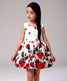Teddy Guppies Pretty Roses Dress - White And Red