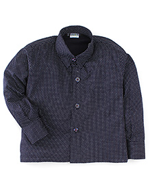 Babyhug Full Sleeves Dotted Print Shirt - Navy Blue