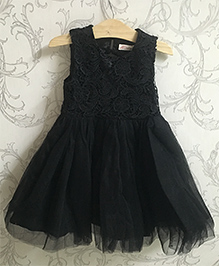 Piperz Netted Party Wear Dress - Black