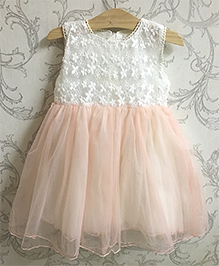 Piperz Party Wear Dress Floral Embroidery - Peach And White