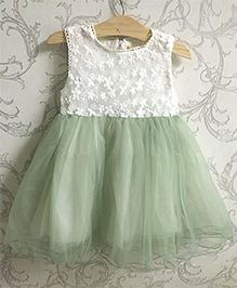 Piperz Party Wear Dress Floral Embroidery - Green And White