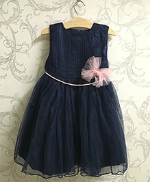 Piperz Shimmery Party Dress Bow Applique - Blue