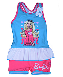 Barbie Sleeveless Graphic Print Swimwear - Blue And Pink