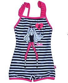Barbie Sleeveless Stripes Graphic Print Swimwear - Black White Pink