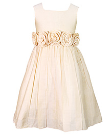 Darlee&Dache Sleeveless Party Wear Dress With Floral Appliques - Golden