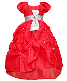 Darlee&Dache Puff Sleeves Party Dress With Embellishments - Red