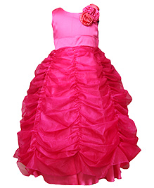 Darlee & Dache Sleeveless Floor Length Party Dress Floral Applique - Pink