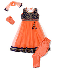 Babyhug Sleeveless Kurti And Churidar With Dupatta Leaves Print - Blue and Orange