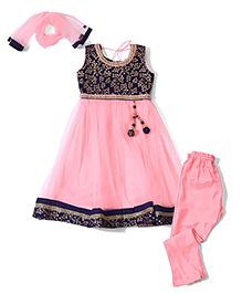 Babyhug Sleeveless Kurti And Churidar With Dupatta Leaves Print - Blue and Pink