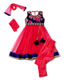 Babyhug Sleeveless Kurti And Churidar With Dupatta Floral Print - Pink