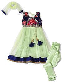 Babyhug Sleeveless Kurti And Churidar With Dupatta Floral Print - Green