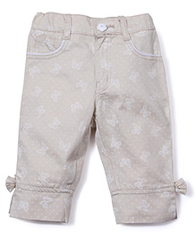 Babyhug Printed Capri With Bow And Slit Hem - Light Beige
