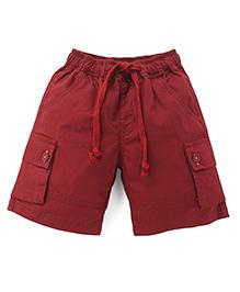 Babyhug Shorts With Drawstrings - Maroon