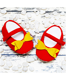 D'chica Two Cute Little Bows Shoes For Her - Red & Yellow