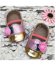 D'chica Pretty Loafer Shoes For Her - Pink & Golden