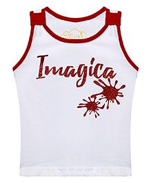 Imagica Sleeveless Printed T-Shirt - White