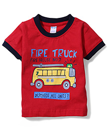 Tango Half Sleeves T-Shirt Fire Truck Print - Red