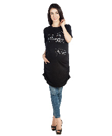 Blush 9 Three Fourth Sleeves Maternity Tunic Top I Am Hungry Print - Black