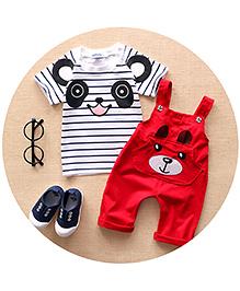 Pre Order : Aww Hunnie Panda Dungaree & Tee Set - White & Red
