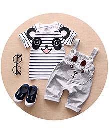 Pre Order : Aww Hunnie Panda Dungaree & Tee Set - White & Grey