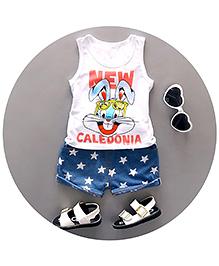 Pre Order : Aww Hunnie Star Printed Shorts & Tee Set - White & Blue
