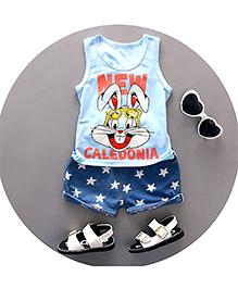 Pre Order : Aww Hunnie Star Printed Shorts & Tee Set - Light Blue & Blue