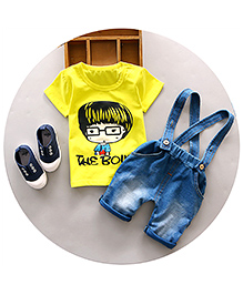 Pre Order : Aww Hunnie The Boy Tee & Dungaree Set - Yellow & Blue