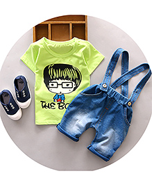 Pre Order : Aww Hunnie The Boy Tee & Dungaree Set - Light Green & Blue