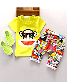 Pre Order : Aww Hunnie Monkey Tee & Lower - Yellow & Multicolor