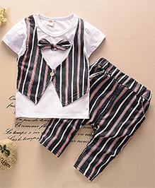 Pre Order : Aww Hunnie Waist Coat Tee & Pant Set - White & Black