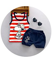 Pre Order : Aww Hunnie Doggy Tee & Shorts Set - Red & Blue