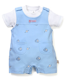 ToffyHouse Half Sleeves T-Shirt & Printed Dungaree Style Rompers Set - White & Light Blue