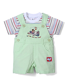 Toffyhouse Dungaree With T-Shirt Plane Print - White And Green