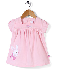 ToffyHouse Puff Sleeves Frock Rabbit Print - Baby Pink