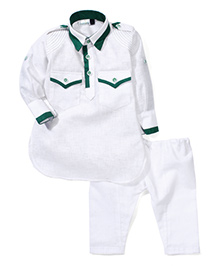Babyhug Full Sleeves Pathani Style Kurta Pajama Set - White