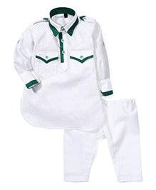 Babyhug Full Sleeves Pathani Style Kurta Pajama Set - White