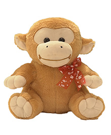 Kuddles Sitting Monkey With Bow Brown - 11 Inches