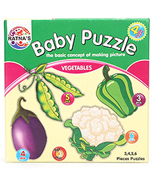 Ratnas Jigsaw Vegetable Theme 4 In 1 Puzzle - 18 Pieces