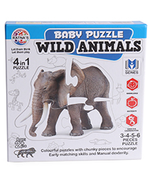 Ratnas Wild Animal Baby Jigsaw Puzzle - Pack Of 4 Puzzles