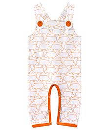 ATUN Hippo Print Dungaree - White & Orange