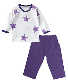 ATUN  Star Print Top And Bottom Set - White & Lilac