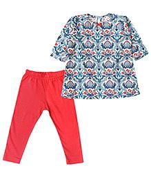 ATUN Floral Top & Leggings Set - Blue & Red