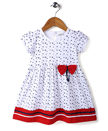 Babyhug Cap Sleeves Frock Bow Applique - White And Red