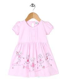 Babyhug Short Sleeves Frock Dancing Doll Print - Light Pink