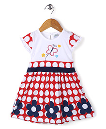 Babyhug Cap Sleeves Frock With Butterfly Embroidery - White & Red