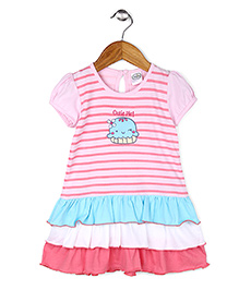 Babyhug Short Sleeves Layer Frock Pie Embroidery - Pink