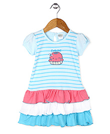 Babyhug Short Sleeves Layer Frock Pie Embroidery - Sky Blue