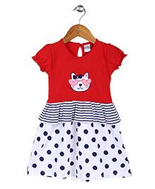 Babyhug Puff Sleeves Frock Polka Dots Print - Red And White